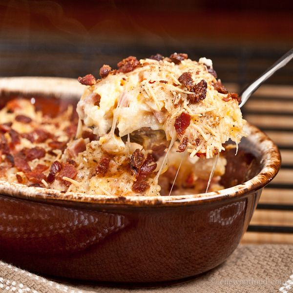 Cheesy Ham and Hash Brown Potato Casserole with bacon on top