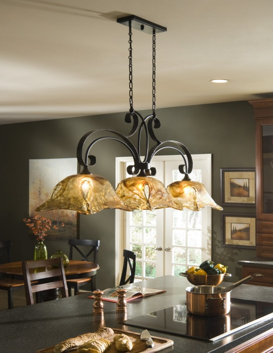 FRENCH COUNTRY 3 Light CHANDELIER Kitchen Island Pendant Iron Glass NEW