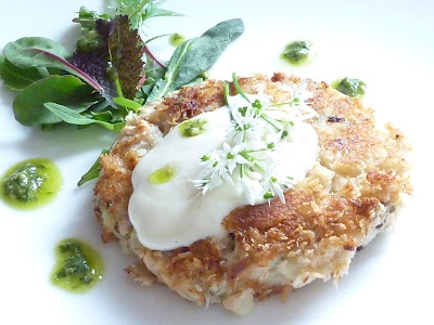 Salmon & Wild Garlic Cake with 2 dressings … … Roasted Garlic Mayo ...