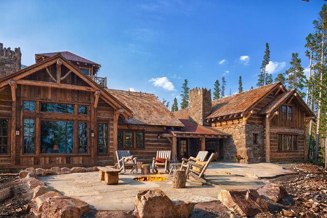 Big Sky Log Cabin Patio Dream Home Pinterest