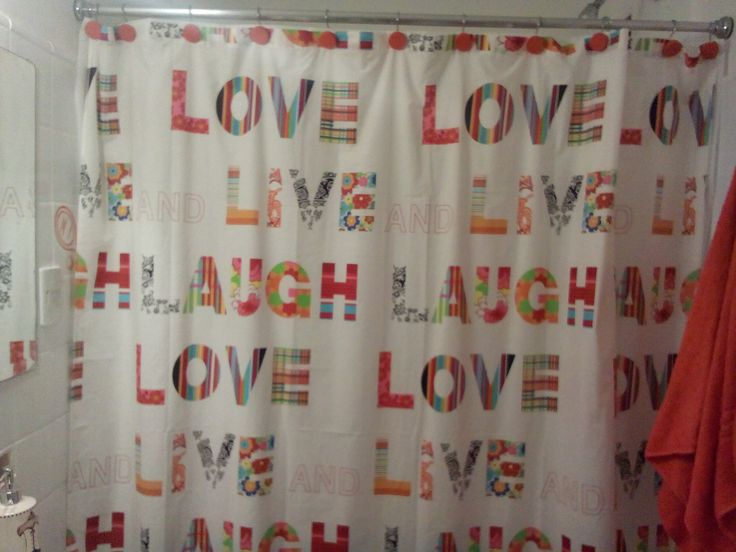 Cortinas De Baño Personalizadas:Cortina de baño – Love – live and laugh