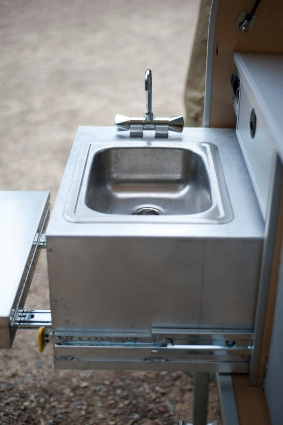 Fold out sink | Teardrop Camper | Pinterest