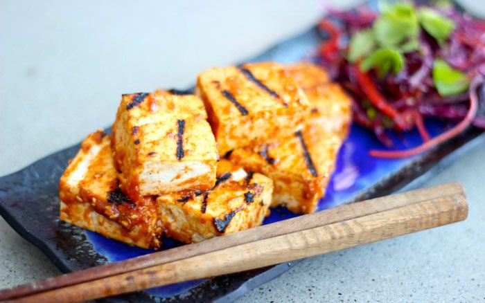 Instead of grilled chicken, make this Sriracha-Miso Grilled Tofu