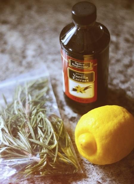 vanilla + lemon + rosemary home deodorizer