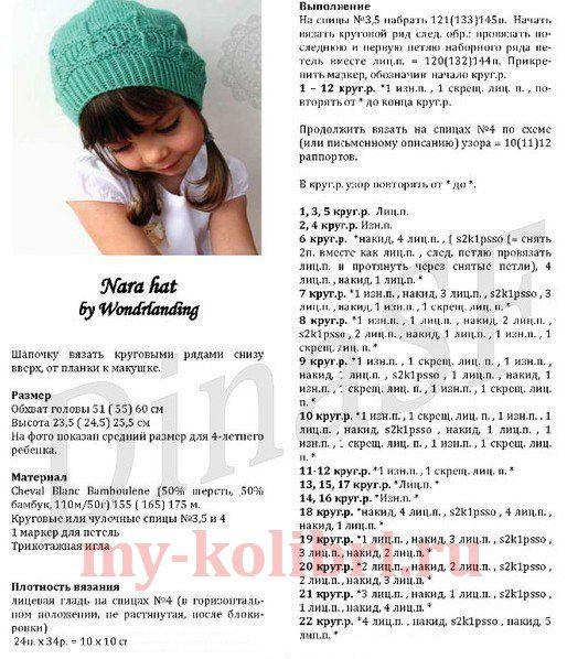 Описание вязания шапочки для девочки на спицах 887