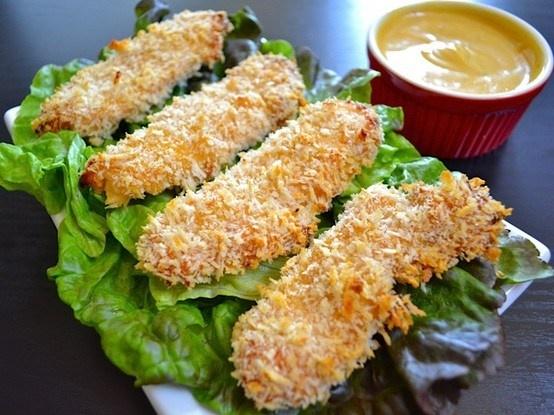 HONEY MUSTARD BAKED CHICKEN STRIPS | Chicken Recipes | Pinterest