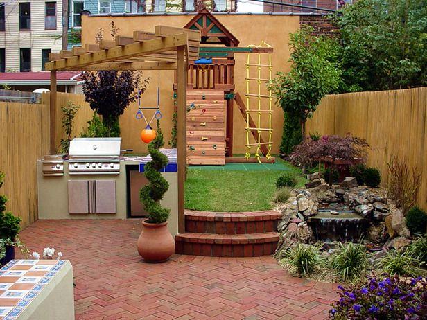 Jungle Gym Small Backyard :  compact backyard features an outdoor kitchen, kids jungle gym