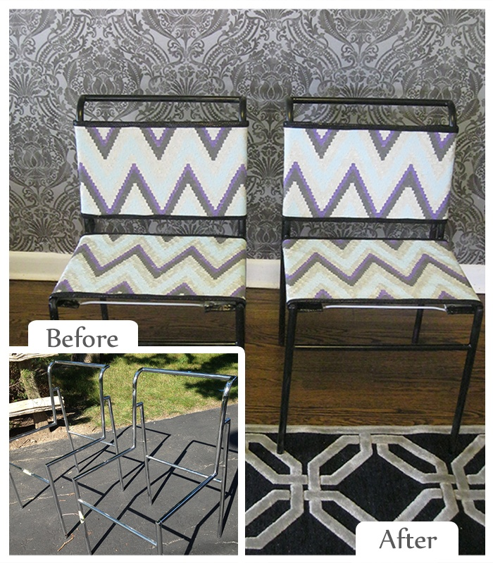 Lisa Canning | Before Item: Chair Frames --- Upcycled Item: Chairs for urban, small space dwellers #Makeover #ReStore