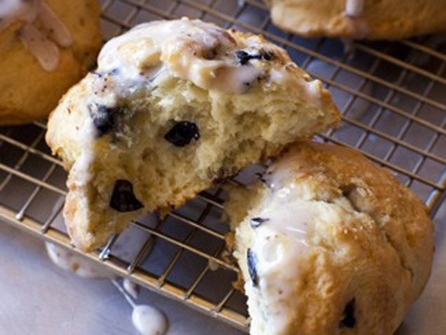 Blueberry Scones with Maple Blueberry Glaze