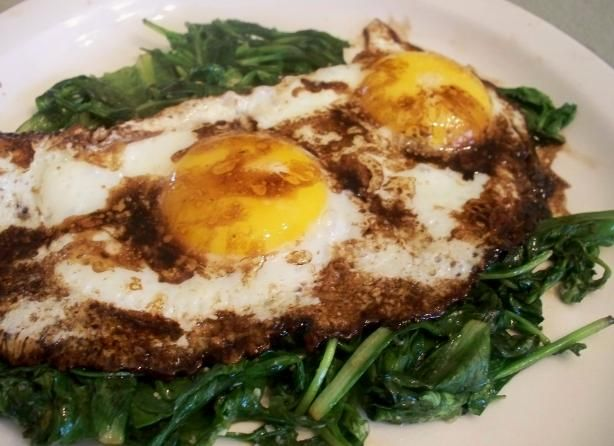 Wilted Greens With Balsamic Fried Eggs Recipe — Dishmaps
