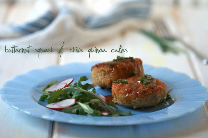 BUTTERNUT SQUASH & CHIVE QUINOA CAKES | Healthy food | Pinterest
