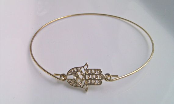 Hamsa Hand Bangle Bracelet, Gold Hamsa Bracelet, Bridesmaid Gift, British Seller UK, Stacking Bracelet, Gifts for Girls, Friend Gift