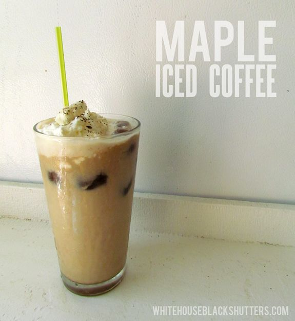 homemade maple iced coffee! Cold brewed, with coffee ice cubes, and sweetened with maple syrup. Takes 1 minute to make and tastes better than coffee shop coffee.
