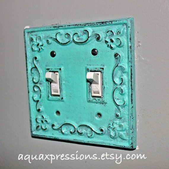Decorative Light Switch Plate Aquamarine Gray Double