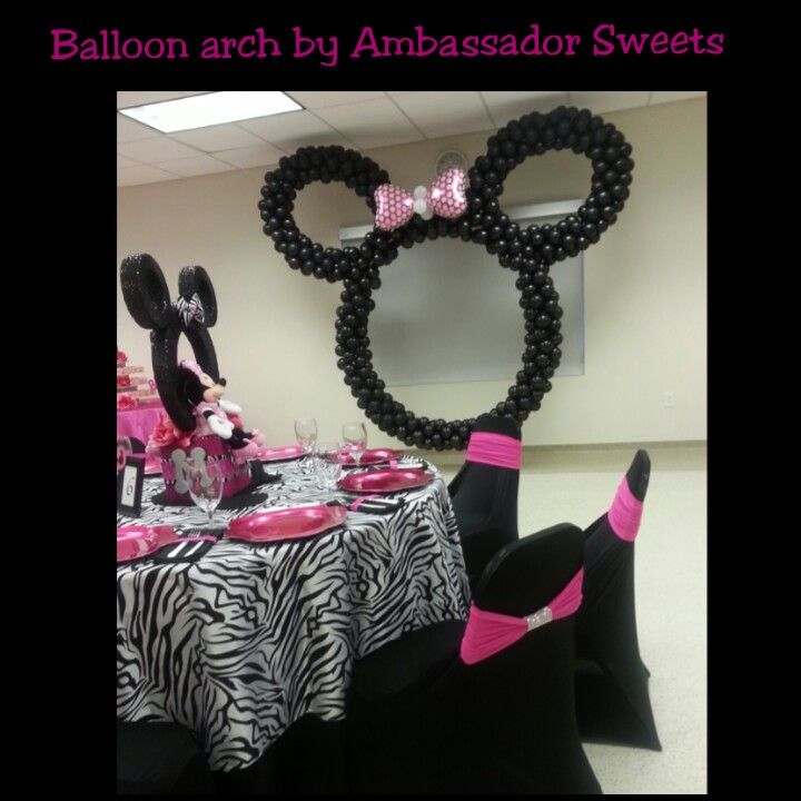 Minnie Mouse hanging balloon arch