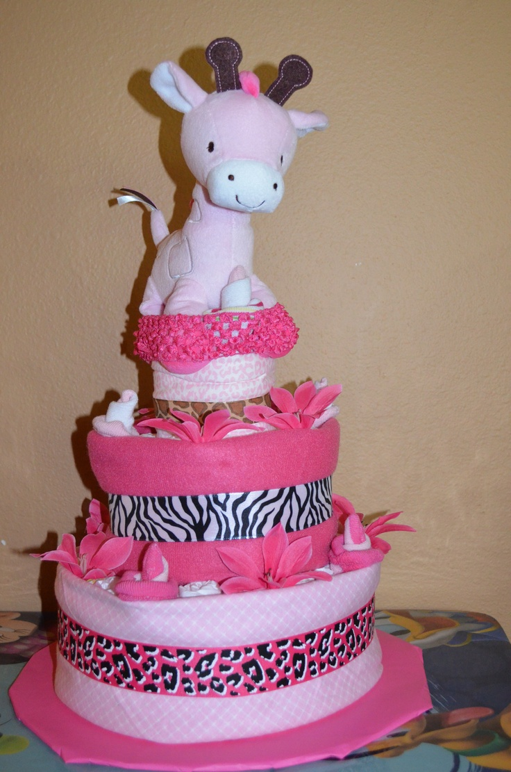 pink safari baby shower diaper cake pink safari baby shower