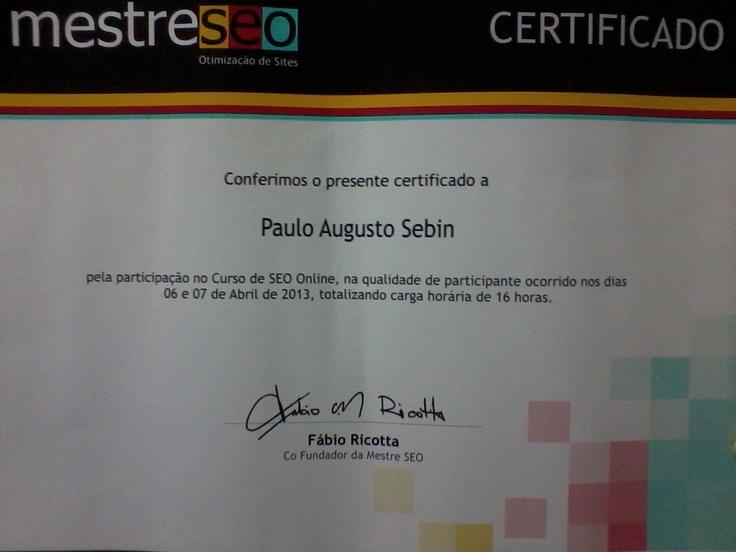 Imagem do certificado de curso de SEO para qualificação em Marketing de Busca