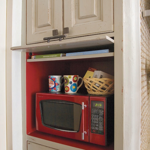 Hide a microwave cabinet kitchen Reno Parsonage