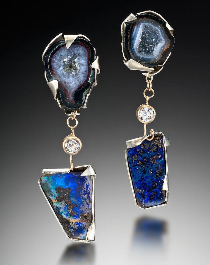 Lisa ben zeev earrings geodes czs boulder opals 14ky sterling