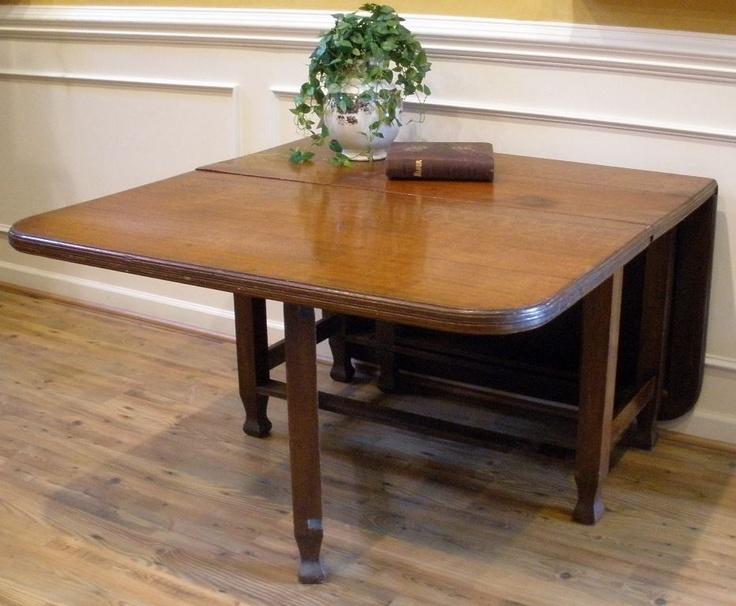 Antique Dining Table English Oak Large Drop Leaf Gate Leg Farm House