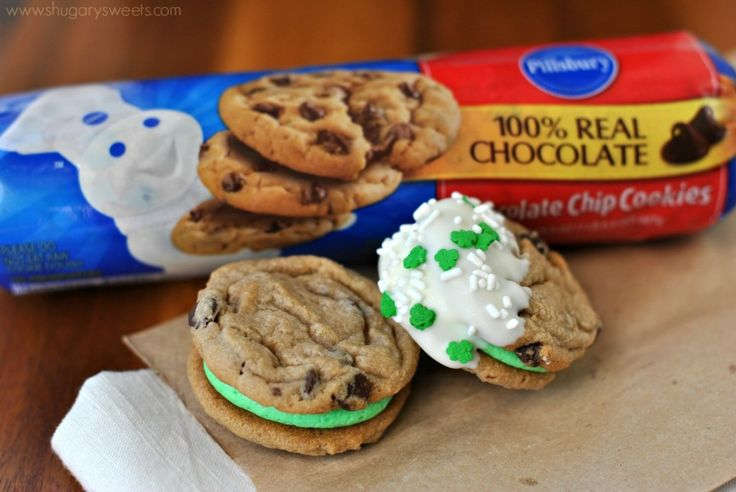 ... Sandwich Cookies: easy #Pillsbury cookies with mint buttercream
