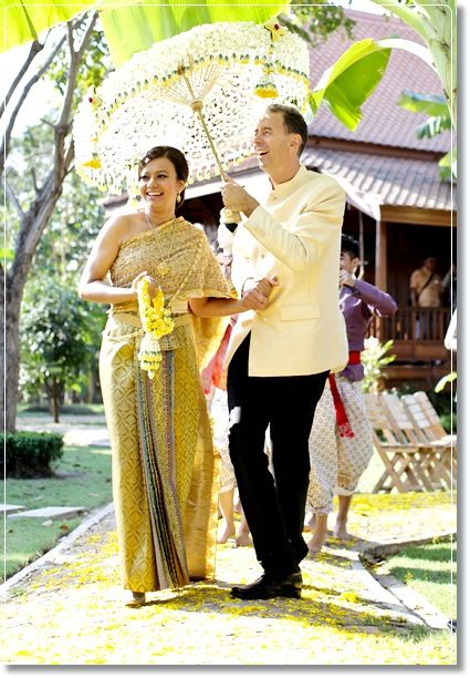 Yellow thai wedding dress