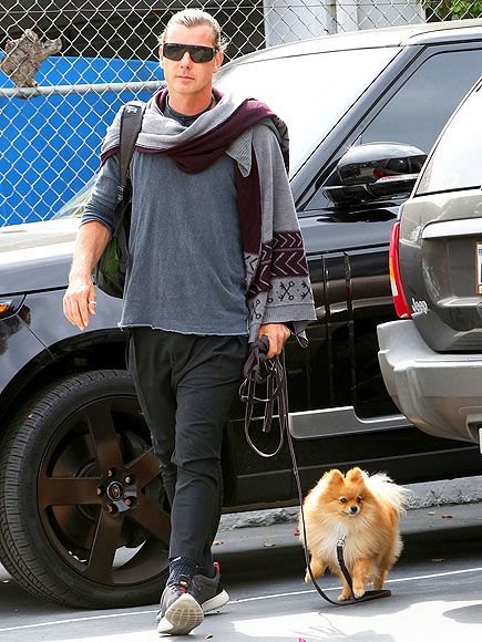 Gavin Rossdale looked oh-so-badass rocking sleek shield sunnies and a slicked-back hair-do during a stroll with his puppy pal!
