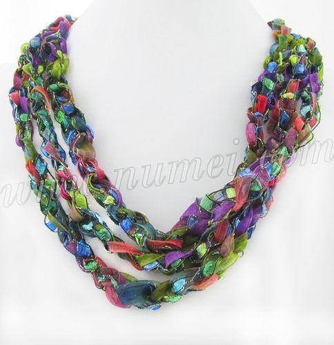 Free Crochet Patterns Using Ribbon Yarn : Ladder Yarn Necklace Knitting Pinterest