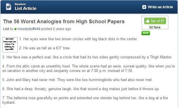 worst analogies high school essay