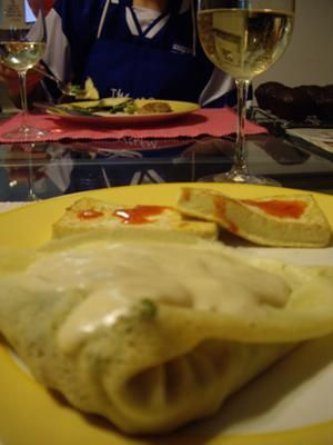Asparagus Mushroom Crepes with Dijon Wine Sauce