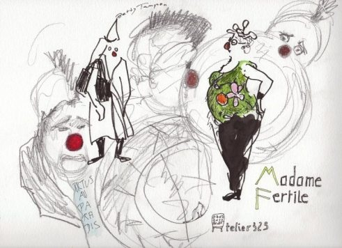 """Reportage drawing in the Clowns' Theater """"le Samovar"""" in Paris: MADAME FERTILE"""