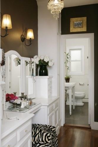 love this powder room/vanity and the zebra stool!