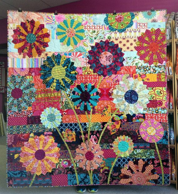 Garden party quilt kit modern quilt kit pattern from for Garden party flower designs to color