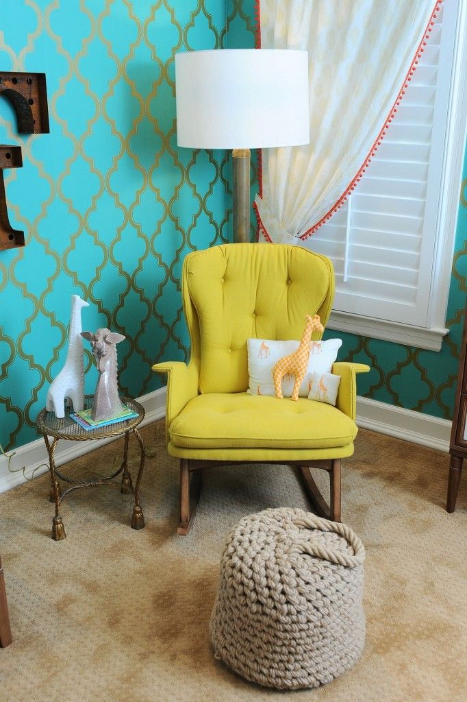 Tori Spelling used a temporary wallpaper in her son's  nursery geometric accent wall