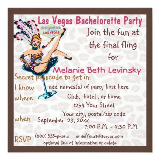 Deals las vegas leopard fur bachelorette party personalized invitation