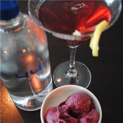 ... vodka, white grape juice, lavender syrup, concord grape sorbet