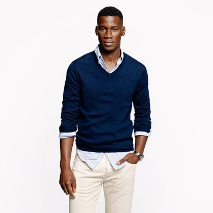 V Neck Sweater Over Shirt And Tie Bronze Cardigan