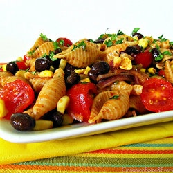 Southwest pasta salad with chili-lime dressing.
