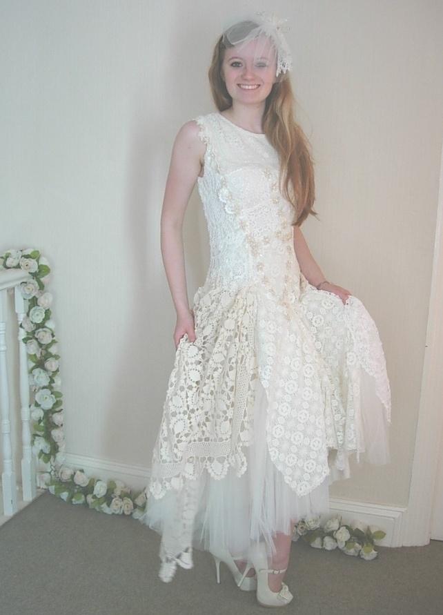 Crochet Wedding : Nathalie - Crocheted Custom Wedding Dress ?950.00