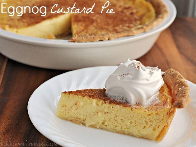 Eggnog Custard Pie - light, fluffy custard with a hint of spiced rum.