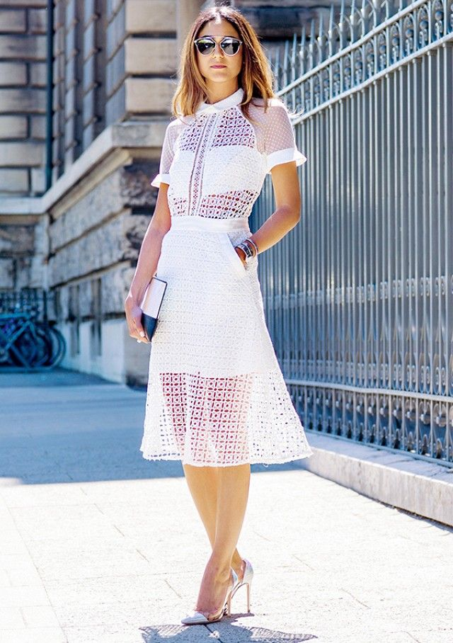 11 Stylish Blogger Looks To Try This Week via @Who What Wear   White on White Sheer on Solid
