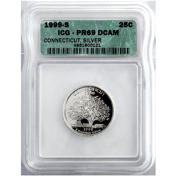 1999 San Francisco (S) Silver Connecticut State Quarter PR69 Deep Cameo (DCAM) ICG