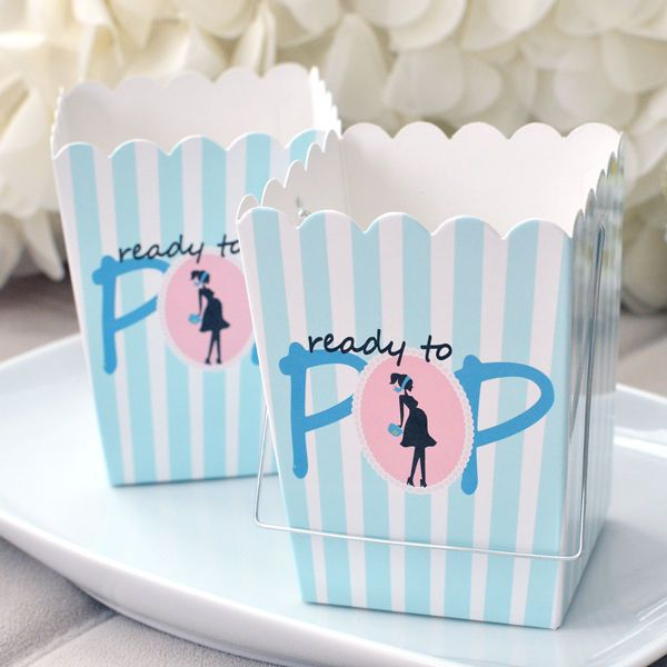 set of 10 ready to pop blue baby shower boxes w handle favor box