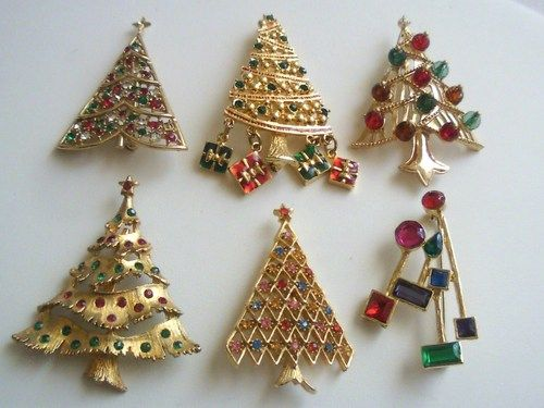 Lot of six vintage quot christmas tree quot brooches pins