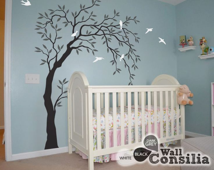 Baby nursery wall decals willow trees decal tree wall for Baby nursery tree mural