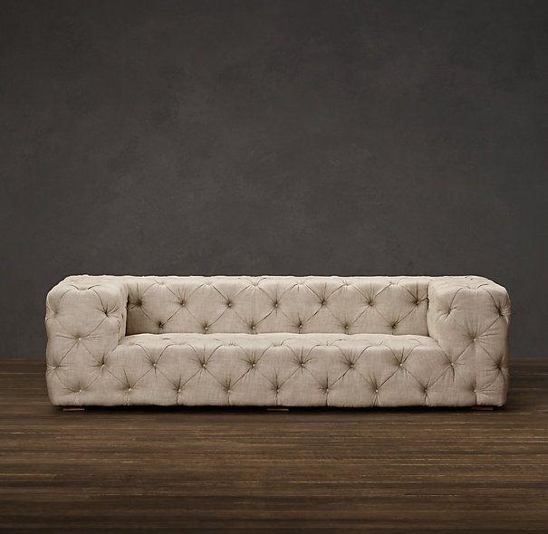 Soho tufted upholstered sofas sofas restoration for Restoration hardware tufted sectional sofa