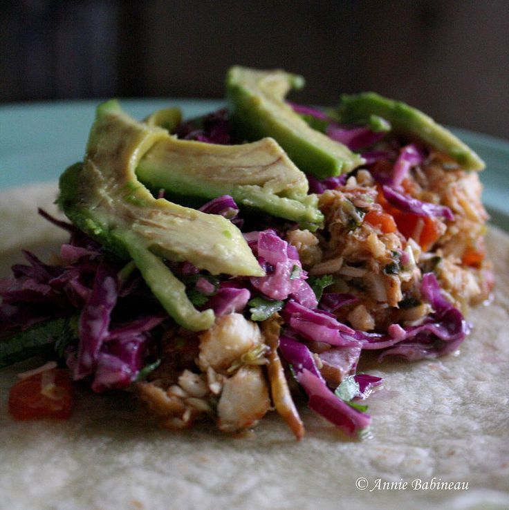 cilantro-lime fish tacos with red cabbage slaw