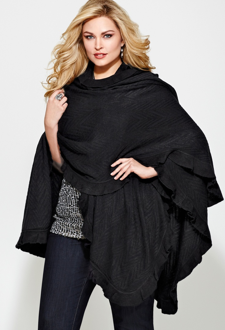 $19.99 Plus Size Chevron Ruffle Ruana | Plus Size Accessory SALE | Avenue
