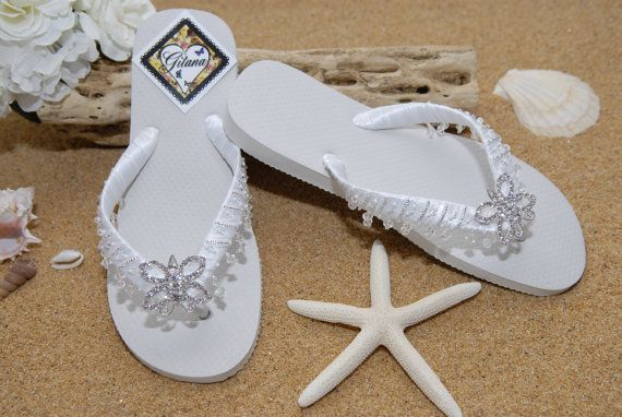flip flops bridal sandals beach wedding white flip flops w