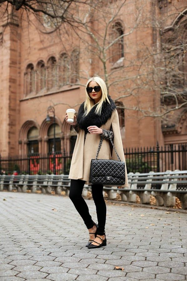 leggings scarf with coat and hand bag